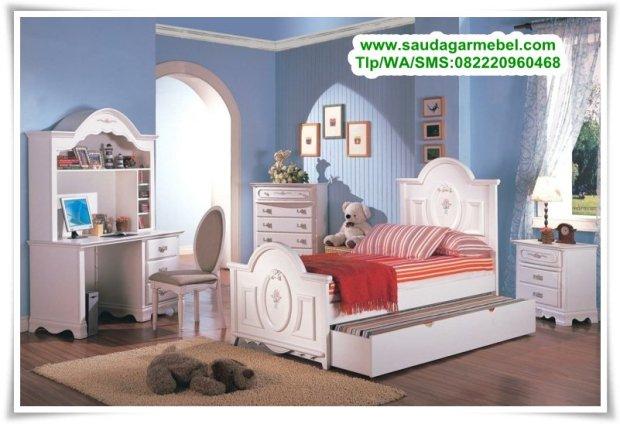 set-tempat-tidur-anak-perempuan-cat-duco